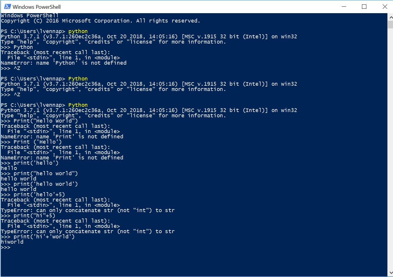 first Python program