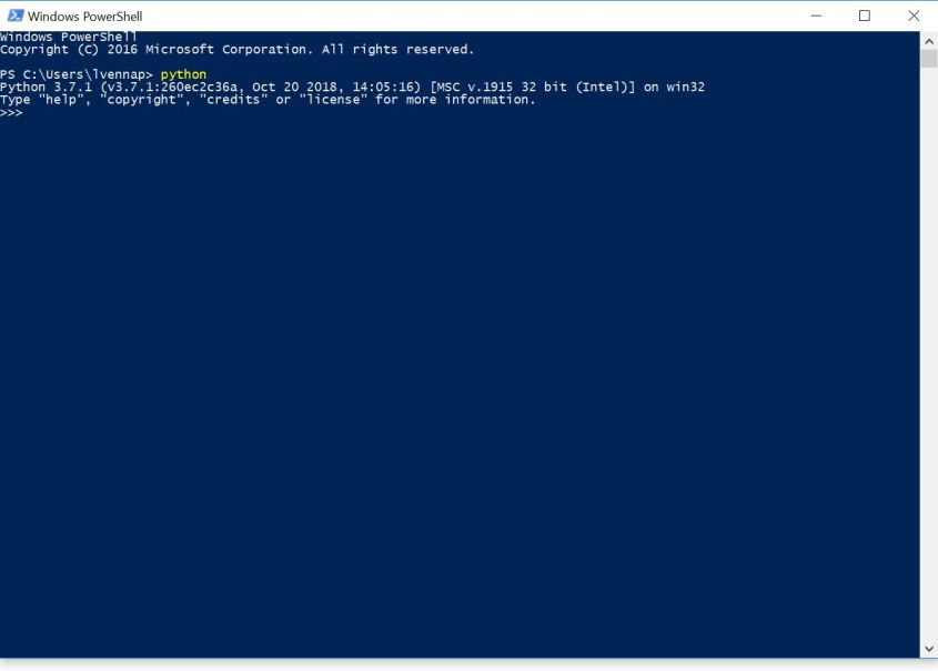 Open python via Windows powershell