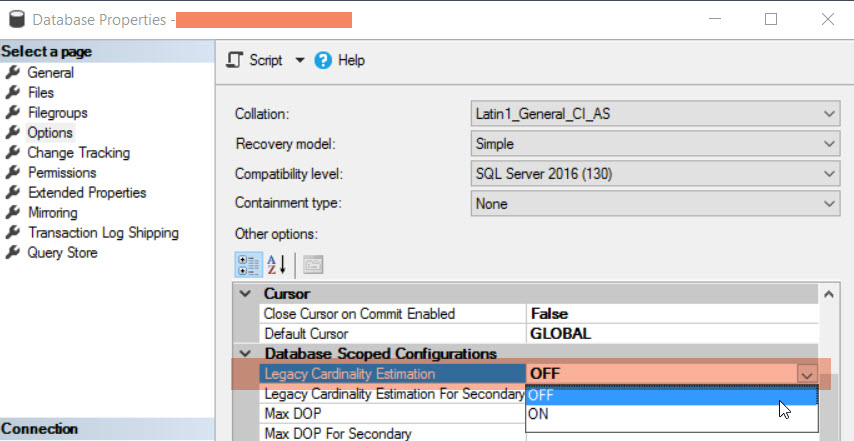 SQL Server 2016 Database Scoped Configuration to force The