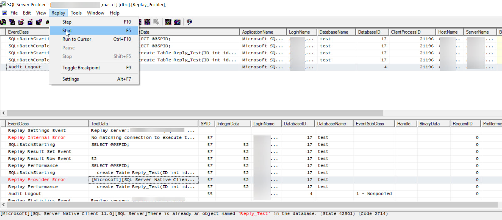 How to Replay a SQL Server Profiler trace in SQL Server
